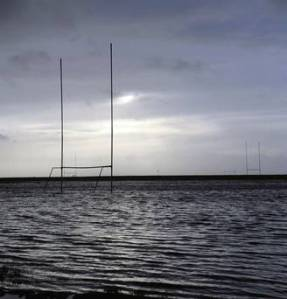 The GAA pitches flooded at Salthill, Galway. Photos: Tony Gavin and Ray Ryan